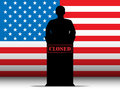 United states of america shutdown closed speech t vector tribune silhouette with flag background Stock Photo