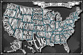 United states of america on vintage handwriting blackboard detailed illustration a illustration in eps with color space in rgb Royalty Free Stock Photo