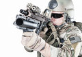 United states army ranger with grenade launcher assault rifle and Royalty Free Stock Photography