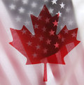 United States and Canada flags Royalty Free Stock Image