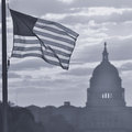 United states capitol building silhouette at sunrise washington dc black and white toned Stock Photography