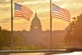 United States Capitol building and US flag silhouette at sunrise, Washington DC Royalty Free Stock Photo