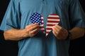United States citizen with broken heart over politics social injustice and xenophobic legislators