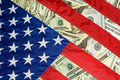 United States Flag and Money Royalty Free Stock Photo