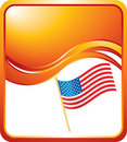 United states flag on orange wave background Royalty Free Stock Photos