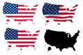 United States flag over map Stock Image