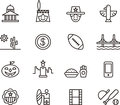 United states icon set black outline icons relating to the on white Royalty Free Stock Image
