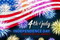 United States Independence Day Holiday 4 July Banner Greeting Card Flat Vector Illustration fireworks Royalty Free Stock Photo