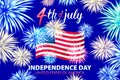 United States Independence Day Holiday 4 July Banner Greeting Card Flat Vector Illustration fireworks art Royalty Free Stock Photo