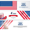 United States Independence Day Holiday 4 July Horizontal Banners Set
