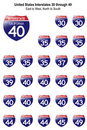 United States Interstate Signs I-30 to I-49 Royalty Free Stock Photography