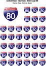 United States Interstates 80 through 89 Royalty Free Stock Photography