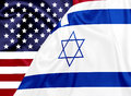 United states and Israel flags on silk texture Royalty Free Stock Photo