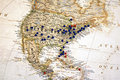 United States with Map Tacks Royalty Free Stock Photo