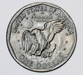 United States one dollar coin with an eagle landing Royalty Free Stock Photo
