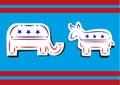 United States Politics. Democratic Donkey and Republican Elephant Broken Line Art Style. Royalty Free Stock Photo