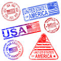 United states rubber stamps of america different shaped stamp vectors Stock Photo