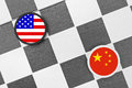 United states vs china draughts checkers competition of two countries on supremacy and leadership two biggest economies and Stock Photo