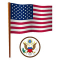 United states wavy flag and coat of arms against white background art illustration image contains transparency Stock Images