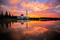 Uniten mosque during sunrise this located at university near to putrajaya Royalty Free Stock Photo