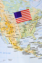 Unites States of America flag pin on map