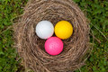 Unity in diversity three color golf balls one nest Royalty Free Stock Images