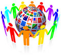 Unity and Flags Globe Royalty Free Stock Images