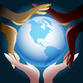 The unity illustration with various color human hands holding globe Royalty Free Stock Image