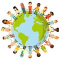 Unity of kids and planet Earth concept Royalty Free Stock Photo