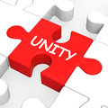 Unity Puzzle Shows Team Teamwork Or Collaboration Royalty Free Stock Photos