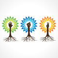 Unity,victory and helping hand make tree