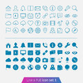 Universal basic set trendy thin icons for web and mobile line and full versions Stock Image