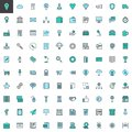 Universal business filled outline icons set