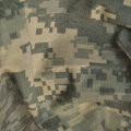 Universal camouflage pattern, army combat uniform digital camo, USA military ACU macro closeup, detailed large rip-stop fabric
