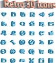 Universal för set för symboler för symbol 3d retro Arkivbilder