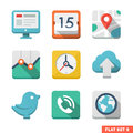 Universal flat icon set news contacts analytics and communications Royalty Free Stock Photos