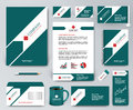 Universal green branding design kit with arrow and red elements.