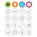 Universal icon. Fitness dumbbell, key and candle.