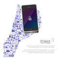 Universal icon protect phone concept illustration of Royalty Free Stock Image
