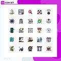 Universal Icon Symbols Group of 25 Modern Filled line Flat Colors of wifi, connection, pong, love, affection