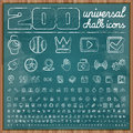Universal icons in chalk doodle style set vector Stock Photos