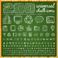 Universal icons in chalk doodle style vector Stock Images