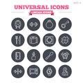 Universal linear icons set. Thin outline signs