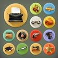 Universal long shadow retro icons Royalty Free Stock Photo