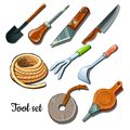The universal set of tools and fixtures is isolated on a white background. Cartoon vector illustration close-up. Royalty Free Stock Photo