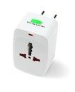 Universal traveler adapter portable on white background Royalty Free Stock Photo