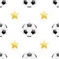 Universal vector football seamless patterns tiling sport theme with balls and stars endless texture can be used for wrapper cover Stock Photo