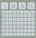 Universal web icons set soft grey edition of suitable for browsing and social media communication clearly layered and fully Stock Photography