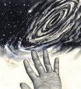 Universe, hand, reaching for the stars Royalty Free Stock Photos