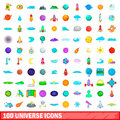 100 universe icons set, cartoon style